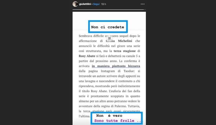 Rosy Abate 3 stagione smentita di Giulia Michelini nelle sue IG Stories l'11 novembre 2019