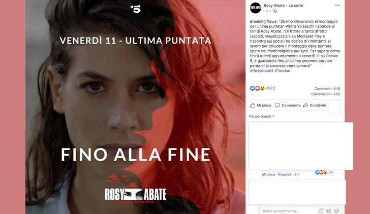 Rosy Abate muore nell'ultima puntata della stagione 2 post pubblicato sulla pagina Facebook ufficiale RosyAbateTv
