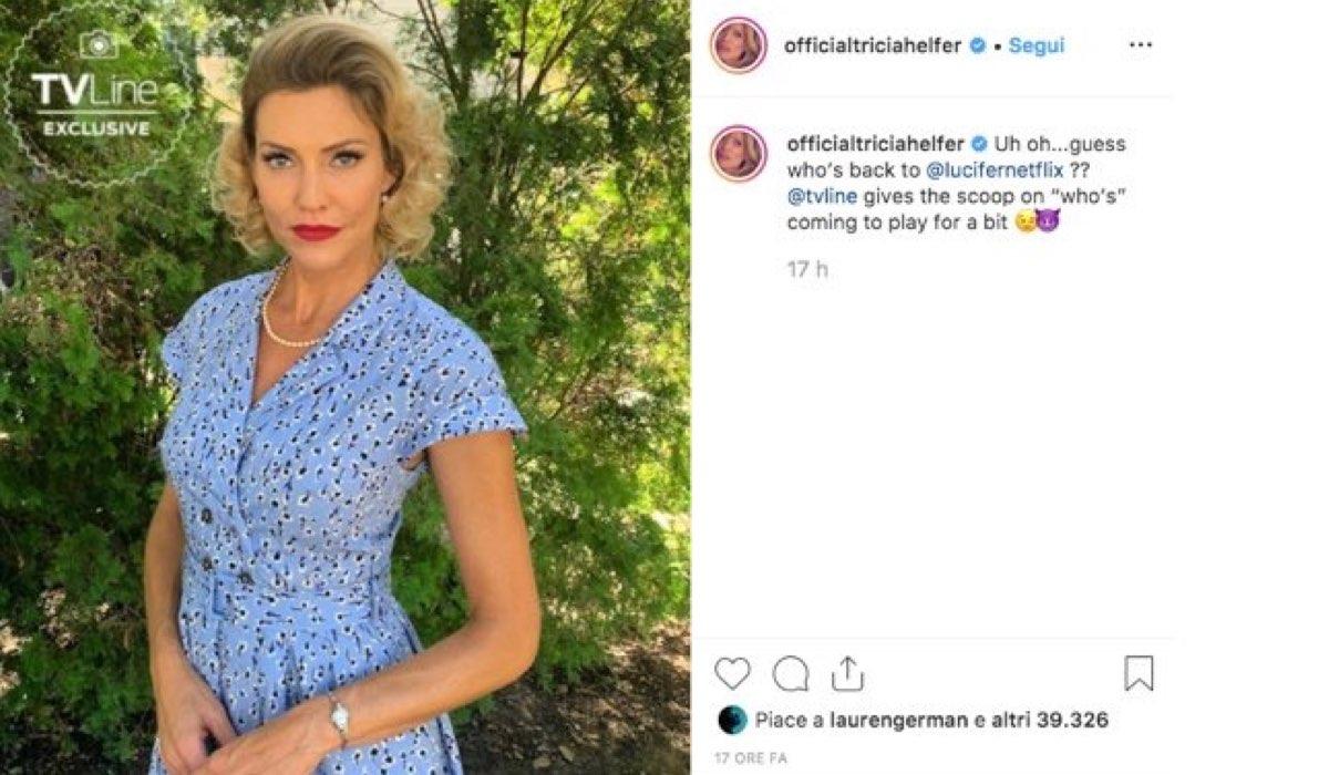 Tricia Helfer confermata nel cast di Lucifer 5 stagione, foto pubblicata dall'attrice sul suo profilo Instagram
