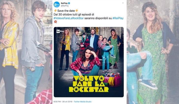 Volevo fare la rockstar su RaiPlay è disponibile in streaming in anteprima dal 30 ottobre 2019, screenshot del Tweet pubblicato sull account Twitter ufficiale di RaiPlay