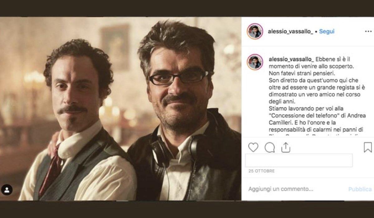 Alessio Vassallo è nel cast de La concessione del telefono nei panni di Pippo Genuardi, foto pubblicata sul suo account Instagram