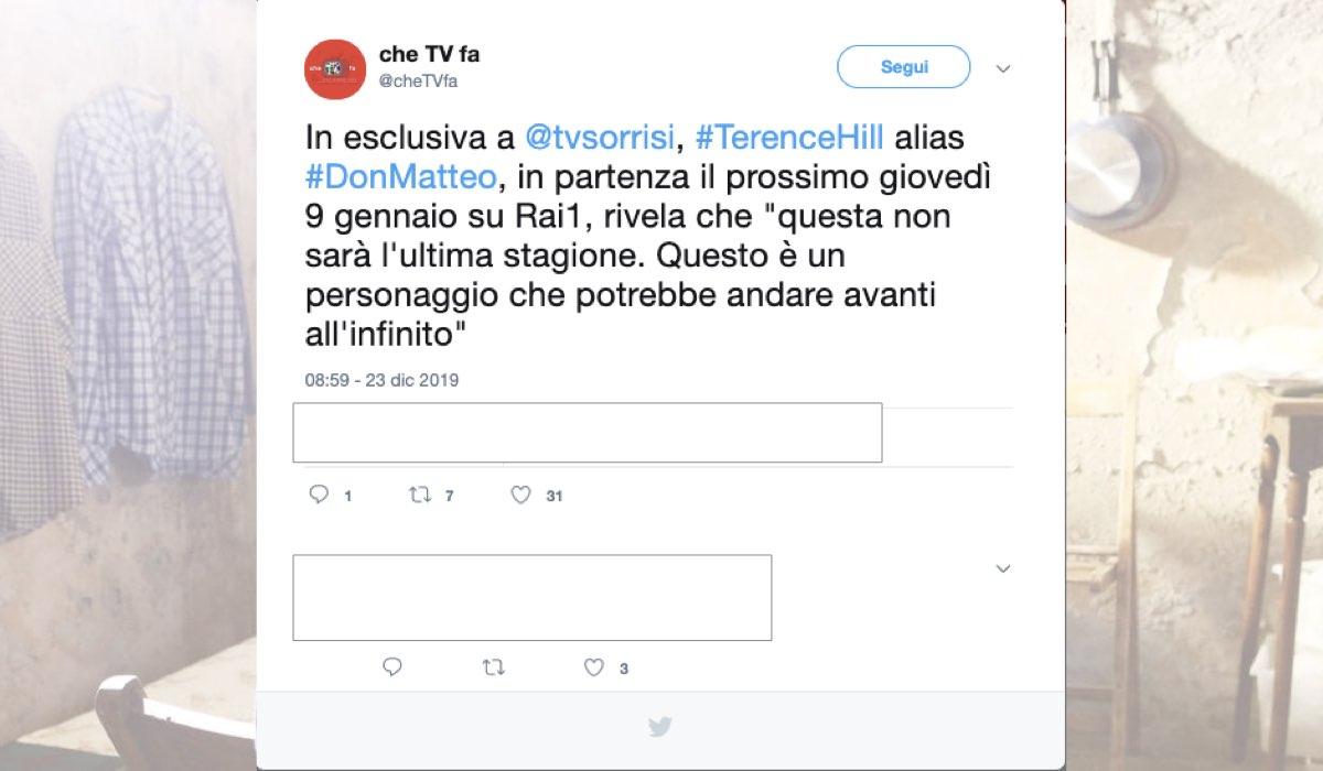 Don Matteo 12 non è l'ultima stagione Tweet pubblicato da CheTvFa il 23 dicembre 2019