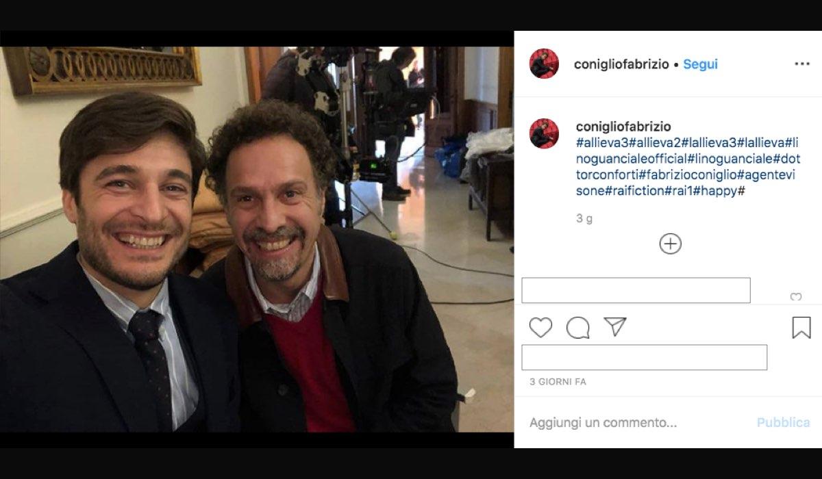 Fabrizio Coniglio nel cast de L'Allieva 3 qui in un selfie con Lino Guanciale condiviso sul suo profilo Instagram
