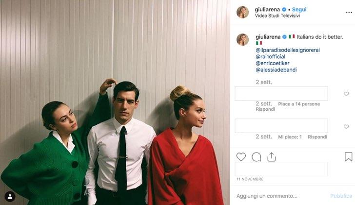 Il Paradiso delle Signore 4 Riccardo tra Angela e Ludovica foto pubblicata sul profilo Instagram di Giulia Arena