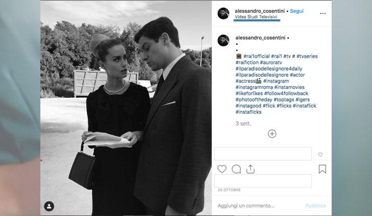 Il Paradiso delle Signore dove è girato in esterna foto pubblicata da Alessandro Cosentini con Giulia Arena da sul suo profilo Instagram