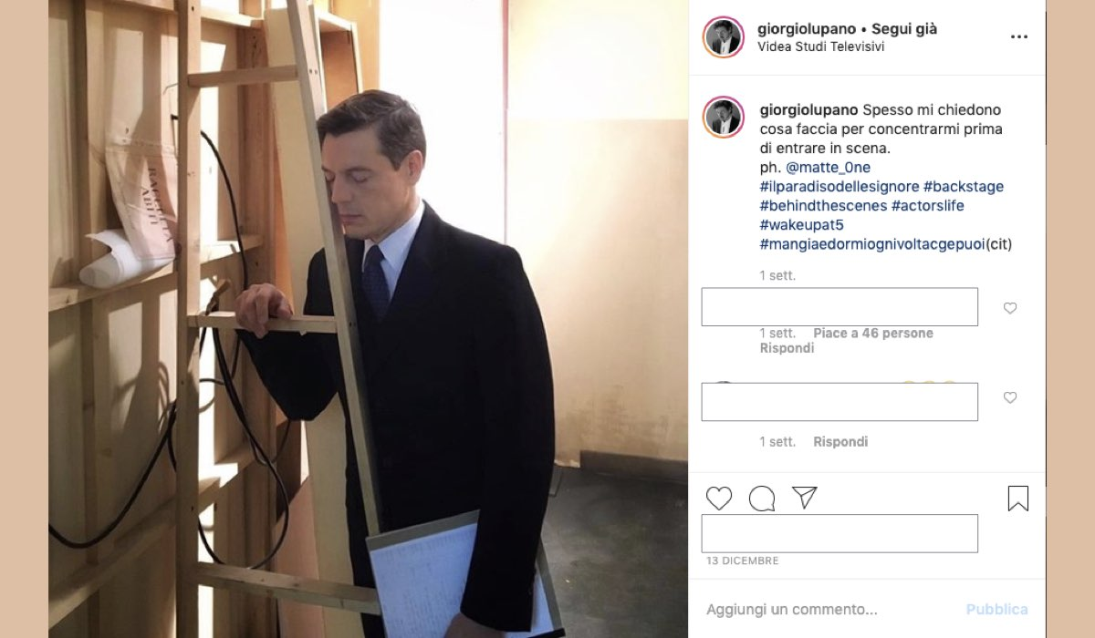 Il Paradiso delle Signore foto dal set ai Videa Studi Televisivi pubblicata su Instagram il 13 dicembre 2019 da Giorgio Lupano