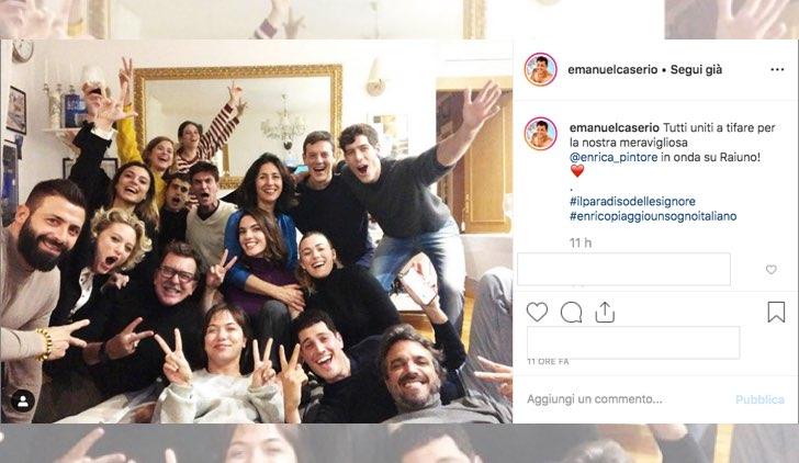 Il paradiso delle signore cast insieme per vedere Enrico Piaggio Un sogno italiano foto pubblicata su Instagram da Emanuel Caserio