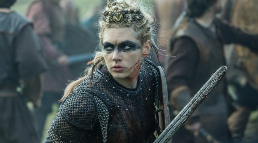 Katheryn Winnick nei panni di Lagertha in Vikings. Credits: MGM Television via Timvision