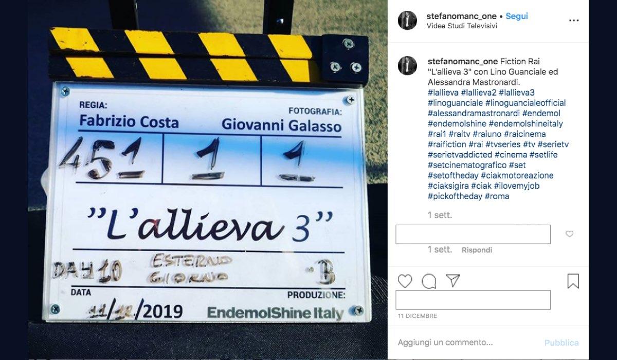 L'allieva 3 riprese in corso al Videa Studi Televisivi foto pubblicata sul suo profilo Instagram da Stefano Mancone