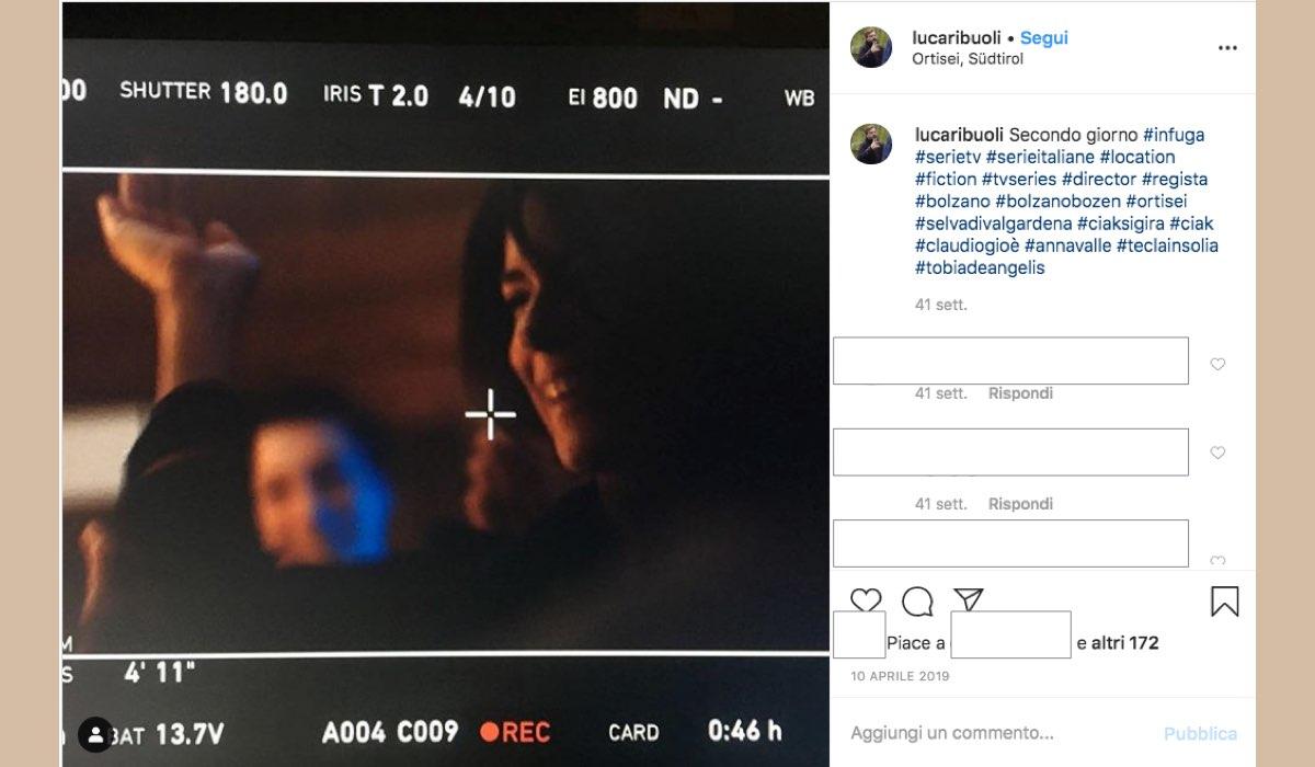 Luca Ribuoli regista di Vite in Fuga pubblica una foto sul suo account Instagram il secondo giorno di riprese a Ortisei