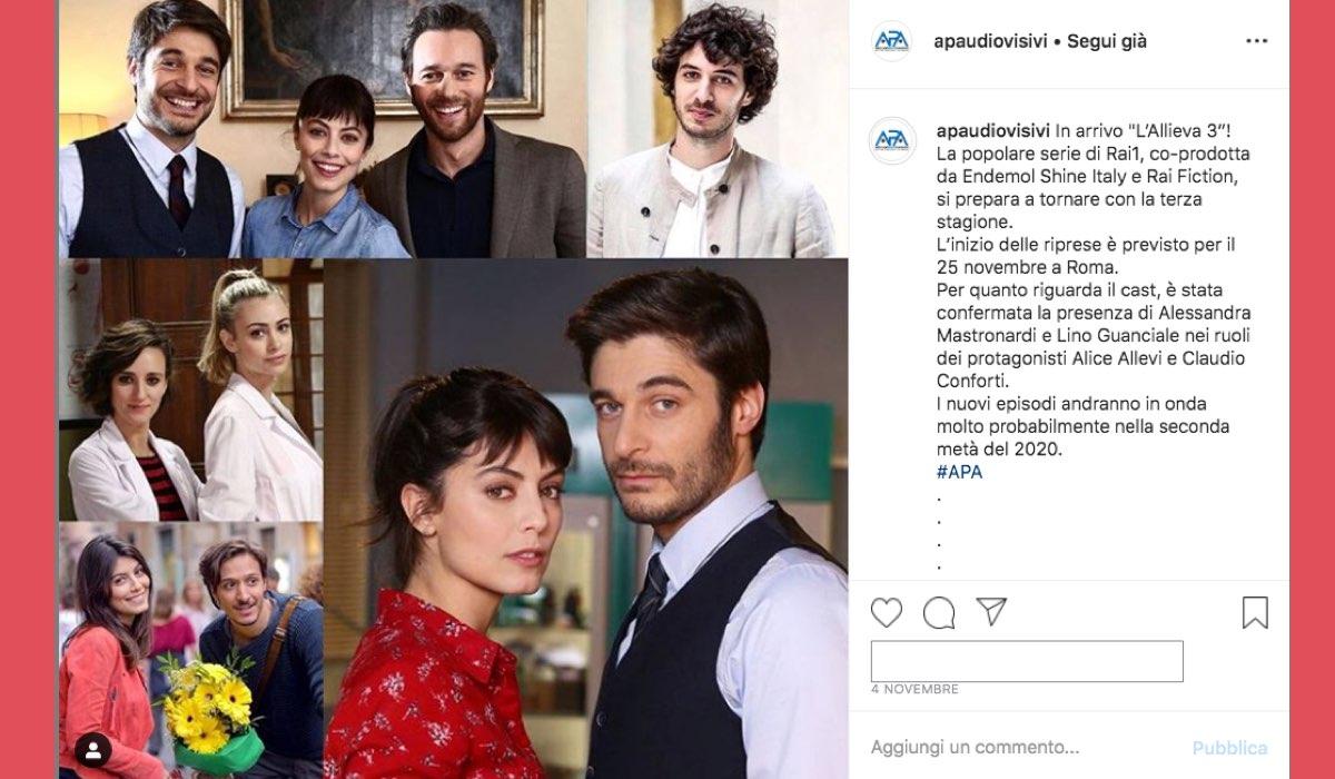 Riprese de L'Allieva 3 al via dal 25 novembre 2019 foto pubblicata su Instagram da apaudiovisivi il 4 novembre 2019