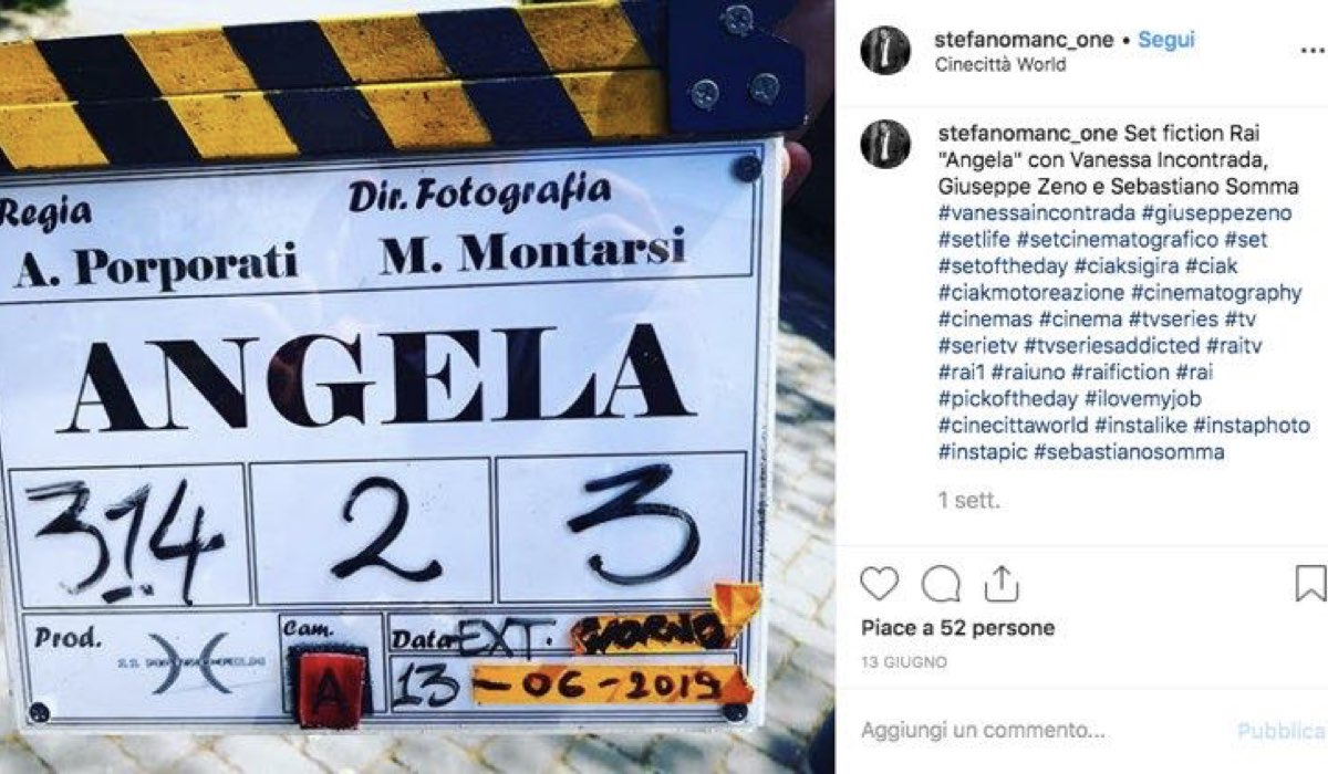 Riprese di Angela il 13 giugno 2019 prima che il titolo diventasse Come una madre, foto condivisa da Stefano Mancone sul suo profilo Instagram