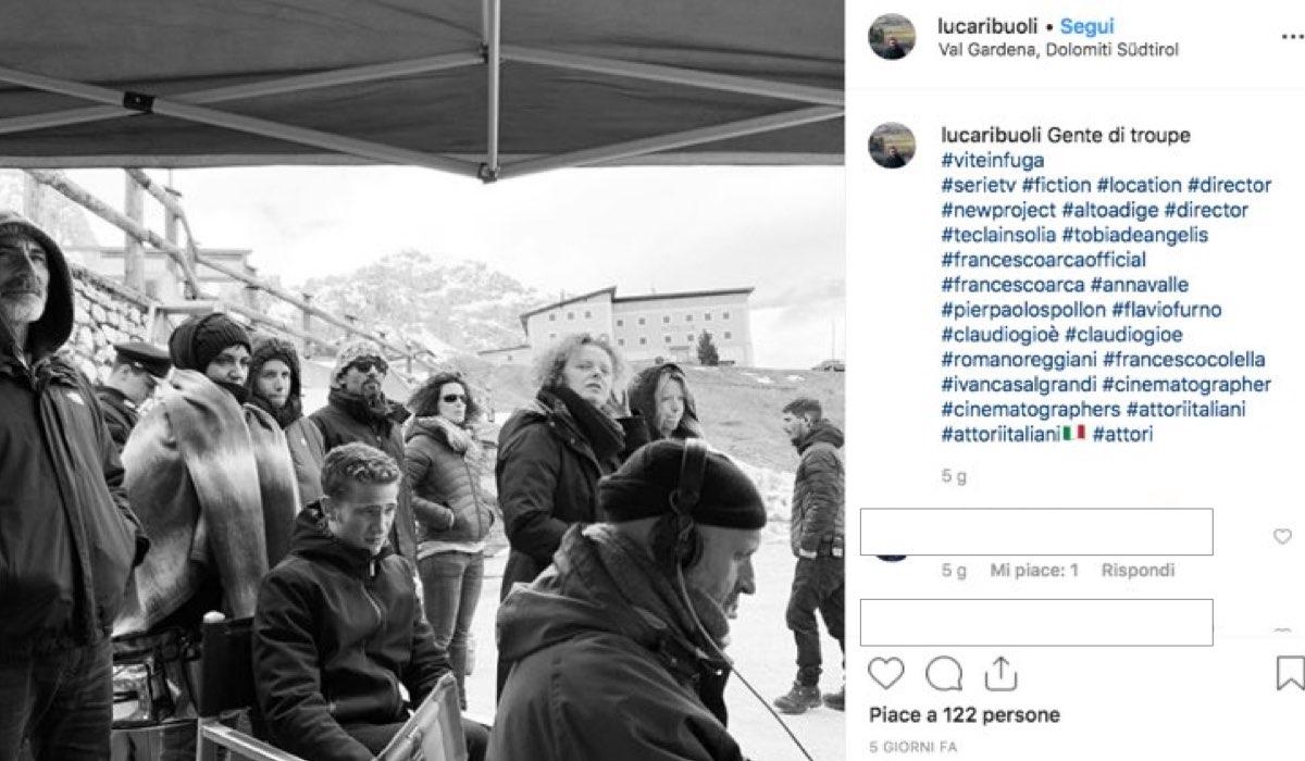 Vite in fuga riprese con la troupe della fiction con Anna Valle foto pubblicate dal regista Luca Ribuoli sul suo account Instagram