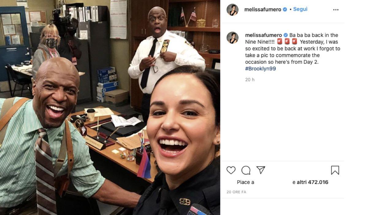 Terry Crews, Melissa Fumero e Andre Braugher sul set di Brooklyn 99. Credits: Instagram via profilo ufficiale @melissafumero