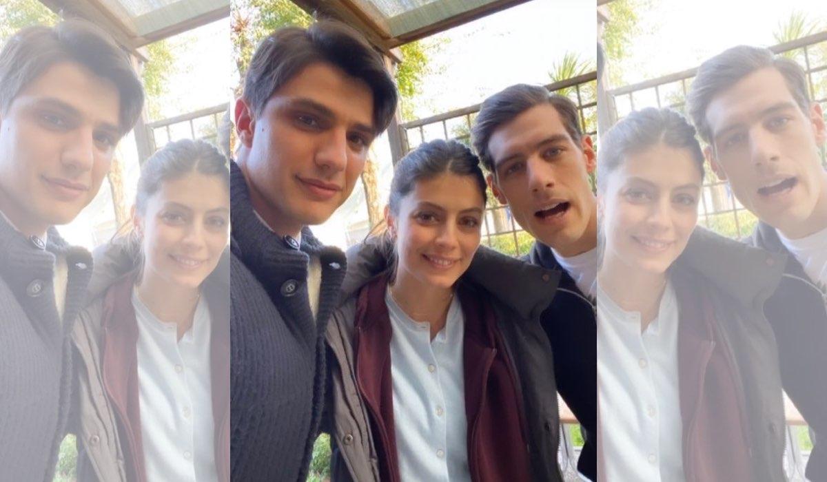 Alessandra Mastronardi ai Videa Studi Televisivi con Pietro Masotti e Enrico Oetiker attori de Il Paradiso delle Signore selfie pubblicato sul suo profilo Instagram da Enrico Oetiker