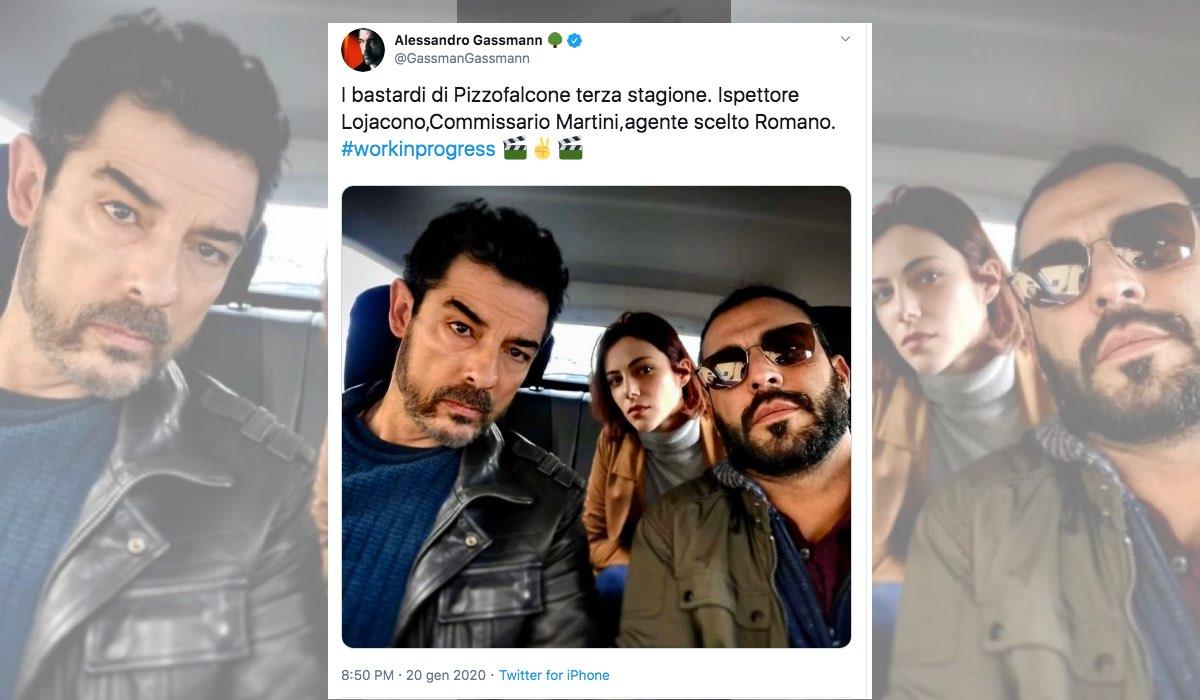 I Bastardi di Pizzofalcone 3 foto pubblicata da Alessandro Gassmann sul suo profilo Twitter verificato GassmanGassmann il 20 gennaio 2020