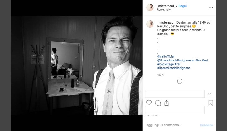 Il Paradiso delle Signore 4 chi è Vincent Defois interpretato da Paolo Bernardini foto pubblicata su Instagram dall attore