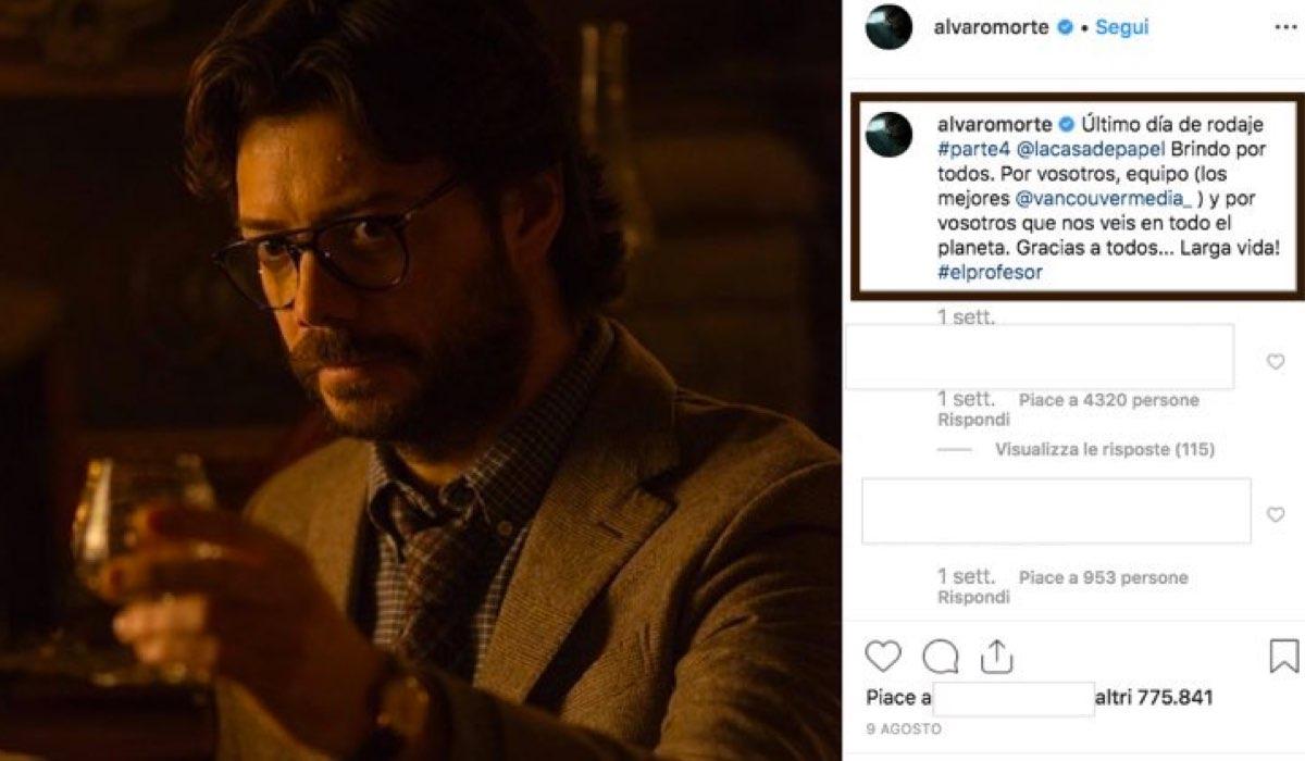 La Casa di Carta 4 uscita su Netflix il 3 aprile 2020, qui foto pubblicata da Alvaro Morte sul suo account Instagram verificato