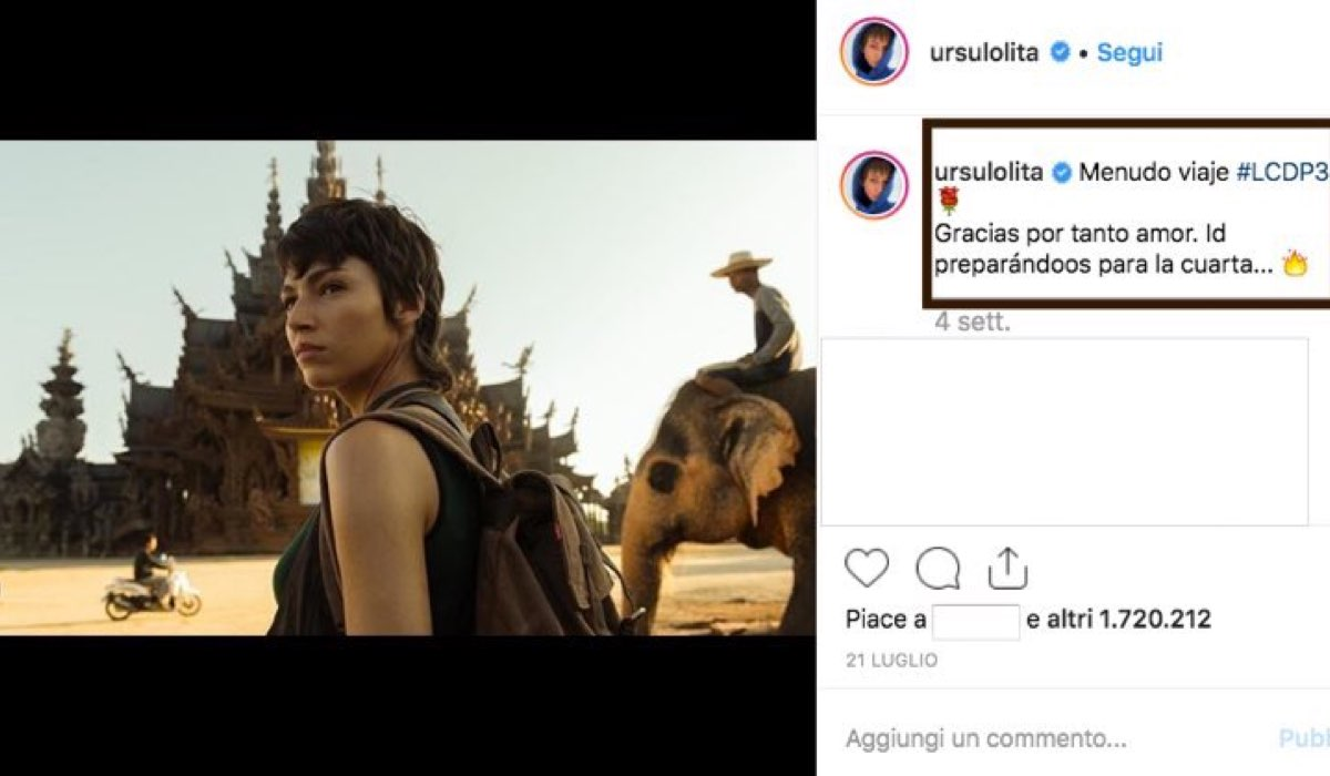 La Casa di Carta 4 uscita su Netflix il 3 aprile 2020, quifoto pubblicata da Ursula Corbero sul suo account Instagram verificato