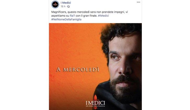 Post pubblicato sulla pagina Facebook ufficiale de I Medici