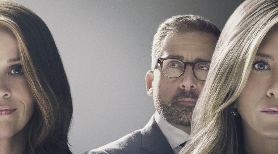 Da sinistra: Reese Witherspoon, Steve Carell e Jennifer Aniston nel poster di The Morning Show. Credits: foto per gentile concessione di Apple.