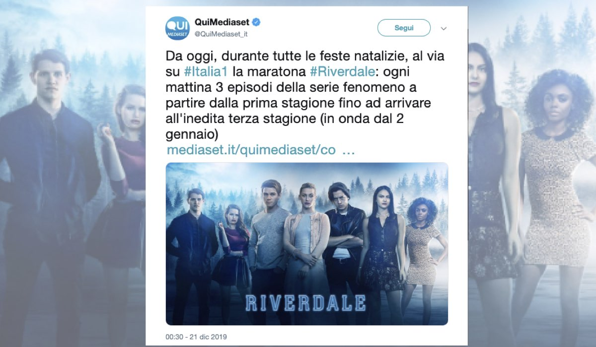 Riverdale su Italia 1 dal 21 dicembre 2019 con tre episodi al giorno Tweet pubblicato su QuiMediaset il 21 dicembre 2019