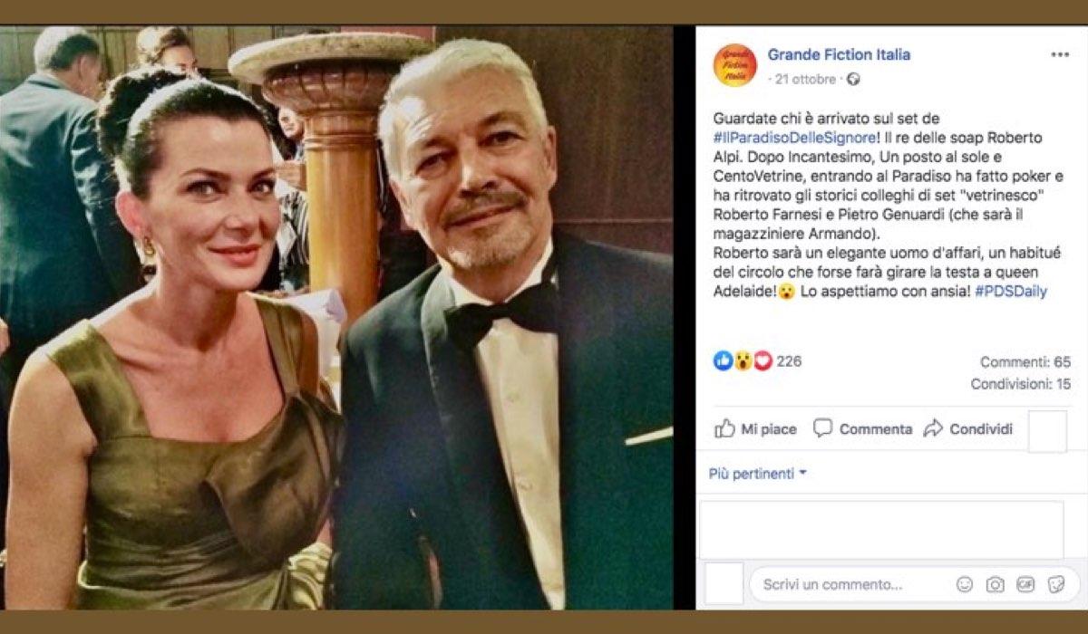 Roberto Alpi è Achille Ravasi ne Il Paradiso delle Signore Daily 2, qui in una foto pubblicata dalla pagina Facebook Fiction Italia che ne annuncia l'arrivo sul set della soap