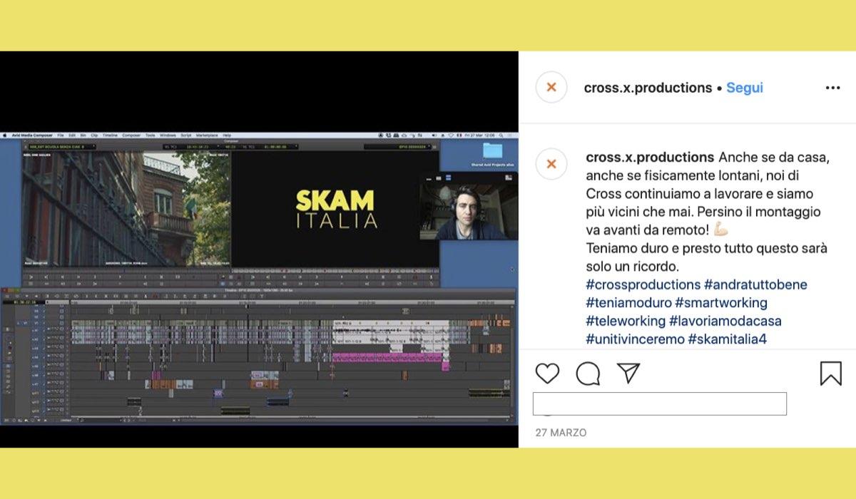 Skam Italia 4 in fase di montaggio, post pubblicato su Instagram ufficiale di Cross Production il 27 marzo 2020