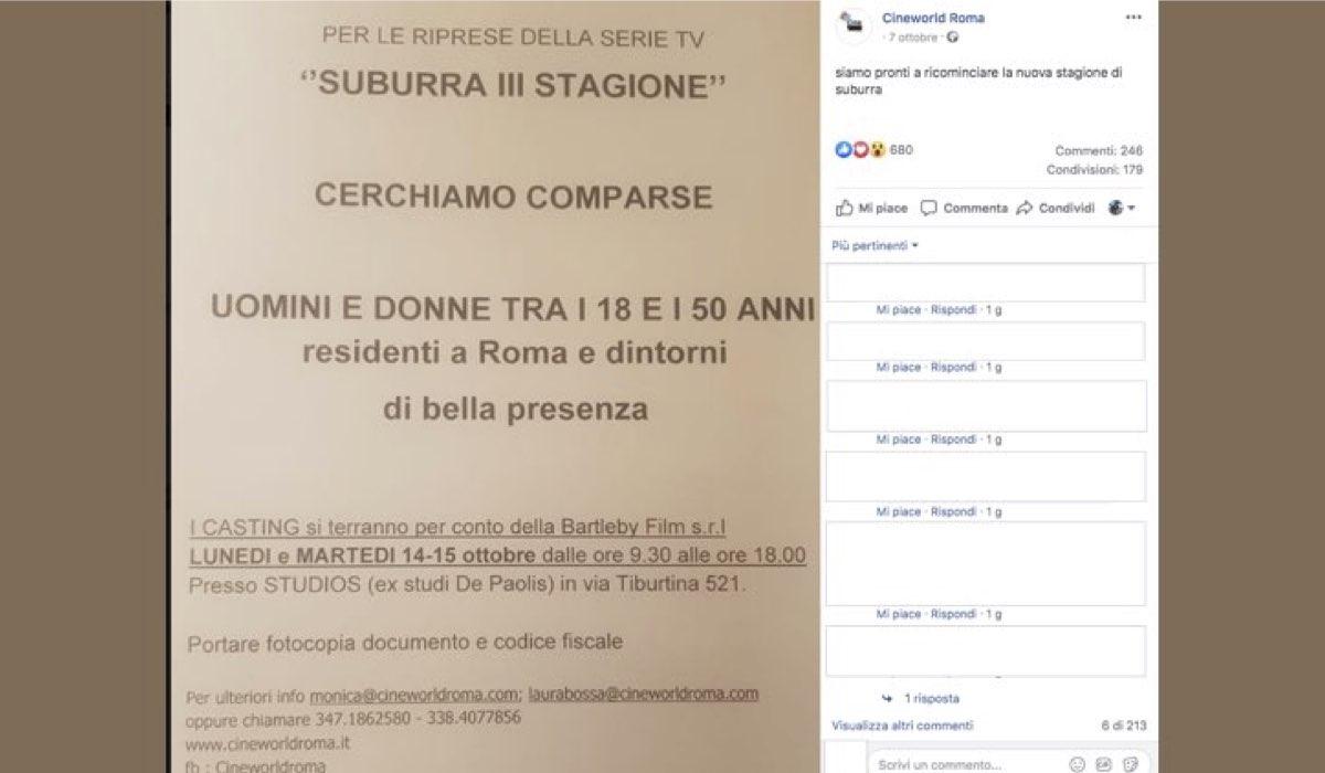 Suburra 3 casting foto dell'annuncio pubblicata sull'account Facebook CWRoma