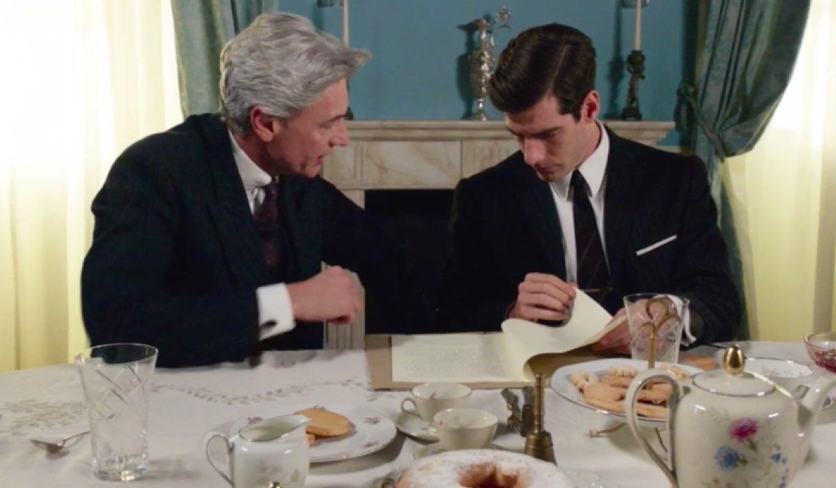 Il Paradiso delle Signore 4 Umberto Guarnieri interpretato da Roberto Farnesi e Riccardo Guarnieri interpretato da Enrico Oetiker nella puntata 72 Credits RAI