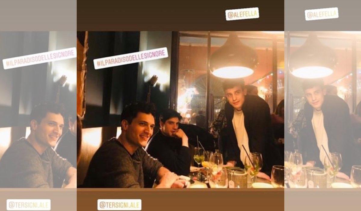 Il Paradiso delle Signore 4 attori insieme anche fuori dal set foto pubblicata su Instagram in una Stories da Pietro Masotti interprete di Marcello Barbieri il 1 febbraio 2020