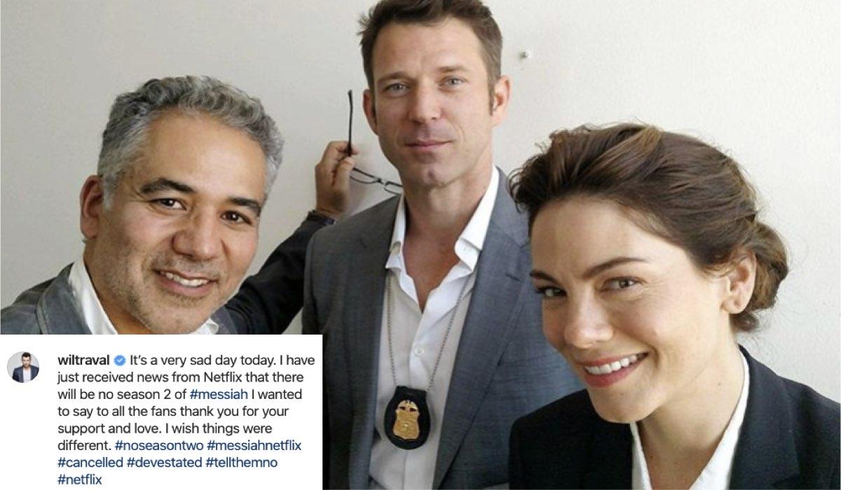 Il post di Wil Traval (al centro) su Instagram; a sinistra, John Ortiz e a destra Michelle Monaghan. Credits @wiltraval Instagram