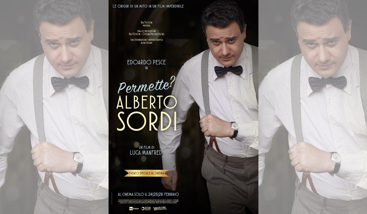 Permette Alberto sordi locandina del film al cinema con Edoardo Pesce Credits Rai Fiction e Ocean Productions