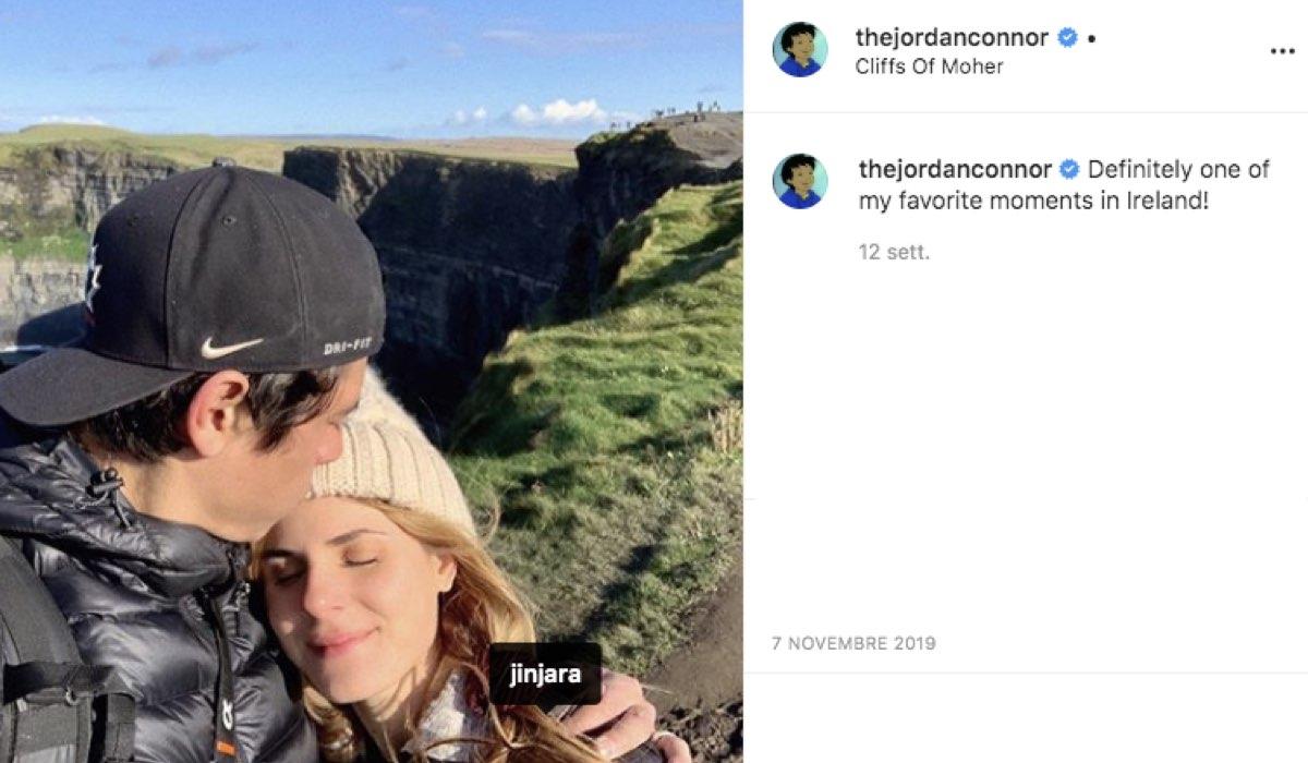 Screenshot di un post pubblicato da Jordan Connor sul suo profilo ufficiale Instagram