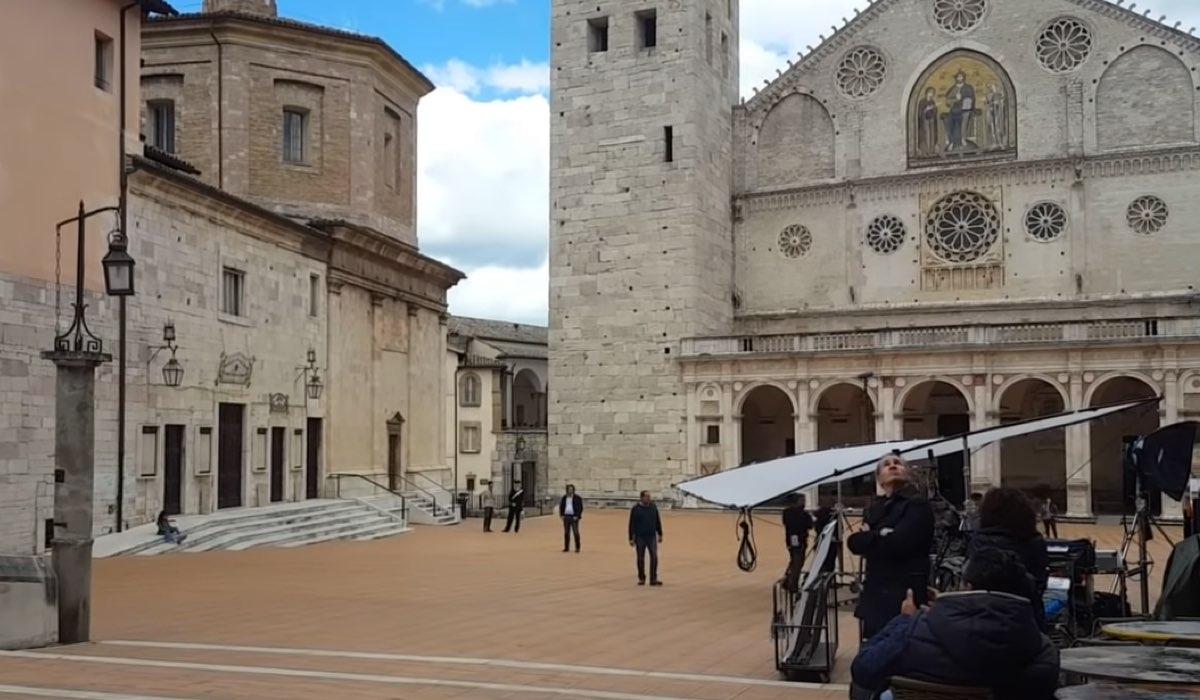 Spoleto durante le riprese di Don Matteo 12 stagione, Credits Rai