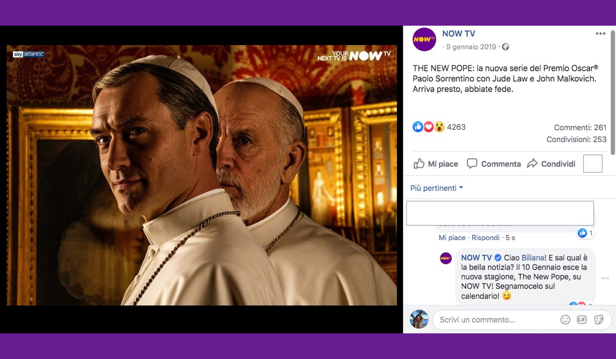 The New Pope su Sky Atlantic da venerdì 10 gennaio 2020, qui foto pubblicata sul profilo verificato di NOW TV Credits SKY