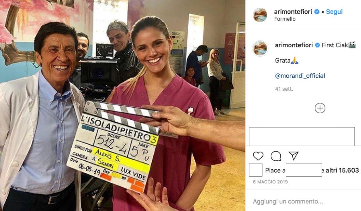 Arianna Montefiori entra nel cast de Il Paradiso delle Signore 4, qui in una foto da lei pubblicata su IG per il primo ciak de L'Isola di Pietro 3 a maggio 2019
