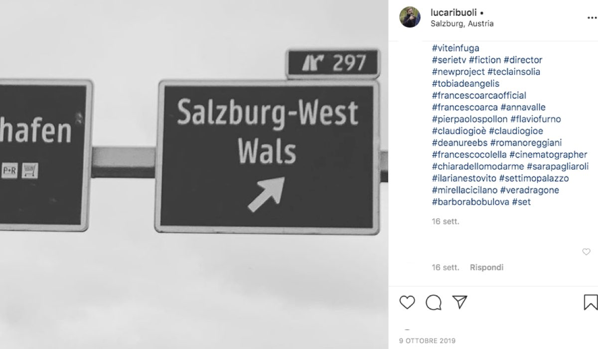 Foto condivisa sull'account Instagram ufficiale di Luca Ribuoli, regista di Vite in fuga