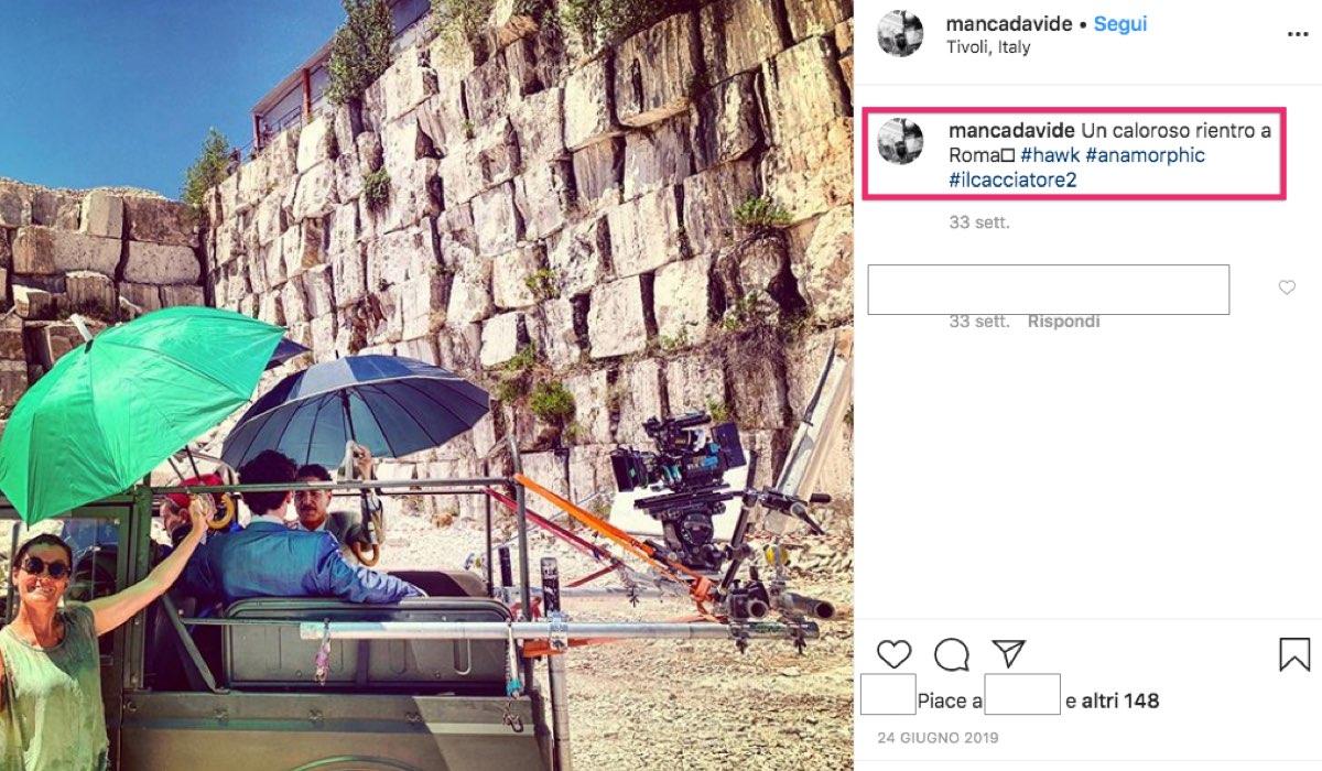 Il Cacciatore 2 con Francesco Montanari, qui in una foto a Roma pubblicata da mancadavide su Instagram il 24 giugno 2019