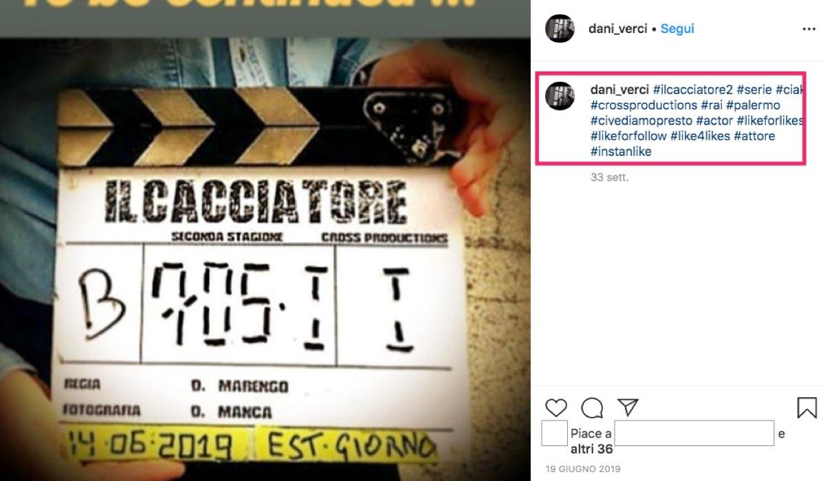 Il Cacciatore 2 girata in parte a Palermo, qui un ciak pubblicato dall'attore Daniele Verciglio sul suo profilo Instagram il 19 giugno 2019