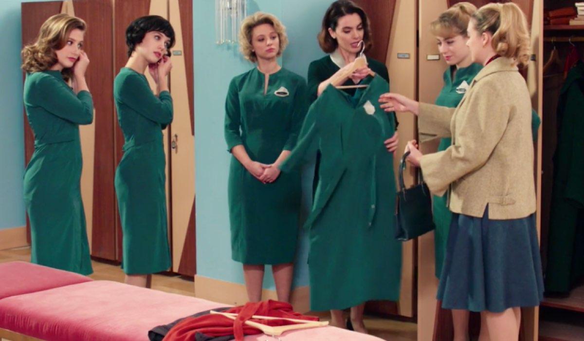 Il Paradiso delle Signore 4 Dora, Marina, Irene, Clelia, Roberta e Angela negli spogliatoi nell'episodio 74 Credits RAI