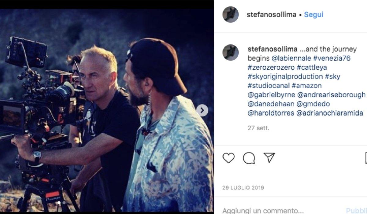 Screenshot di un post pubblicato sul profilo Instagram ufficiale del regista Stefano Sollima sul seti di ZeroZeroZero