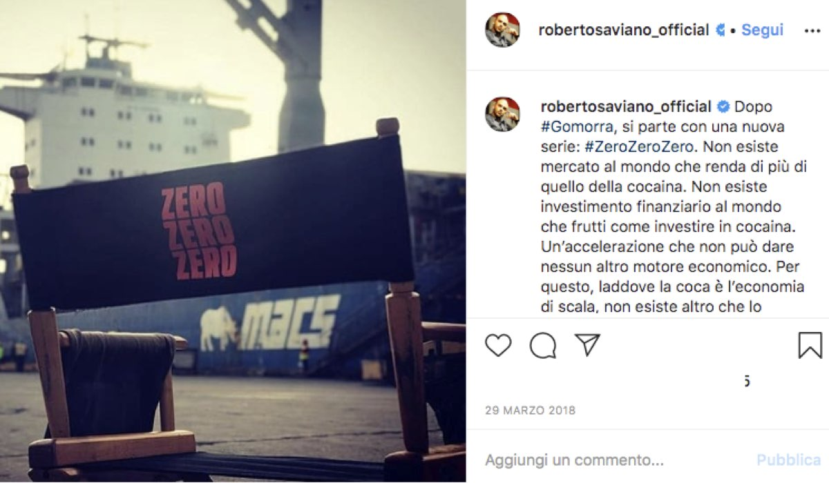 Screenshot di un post pubblicato sul profilo Instagram ufficiale di Roberto Saviano, autore di ZeroZeroZero