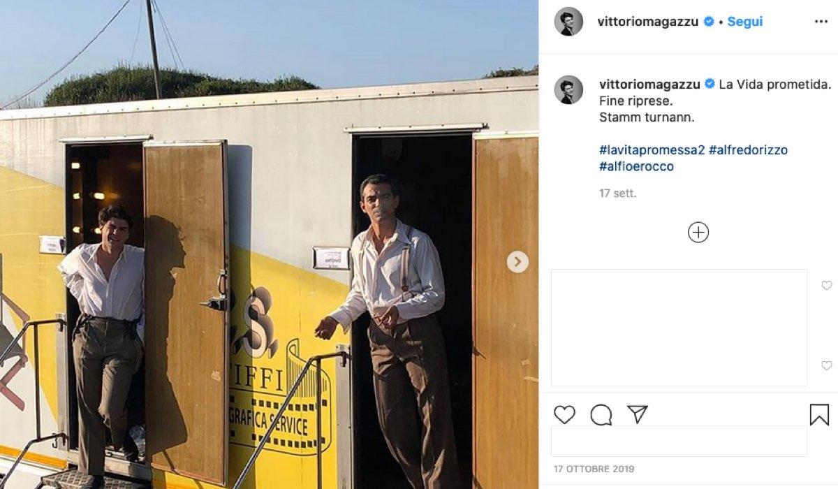 Screenshot di una foto pubbliccata sul profilo Instagram ufficiale dell'attore Vittorio Magazzù sul set de La vita promessa 2 stagione