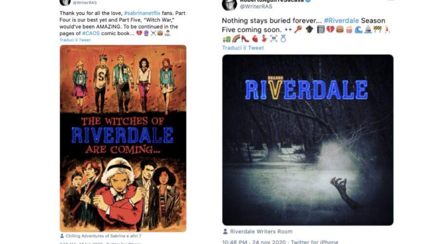 roberto aguirre sacasa tweet sabrina e riverdale crossover e zombie credits twitter via profilo di writerras