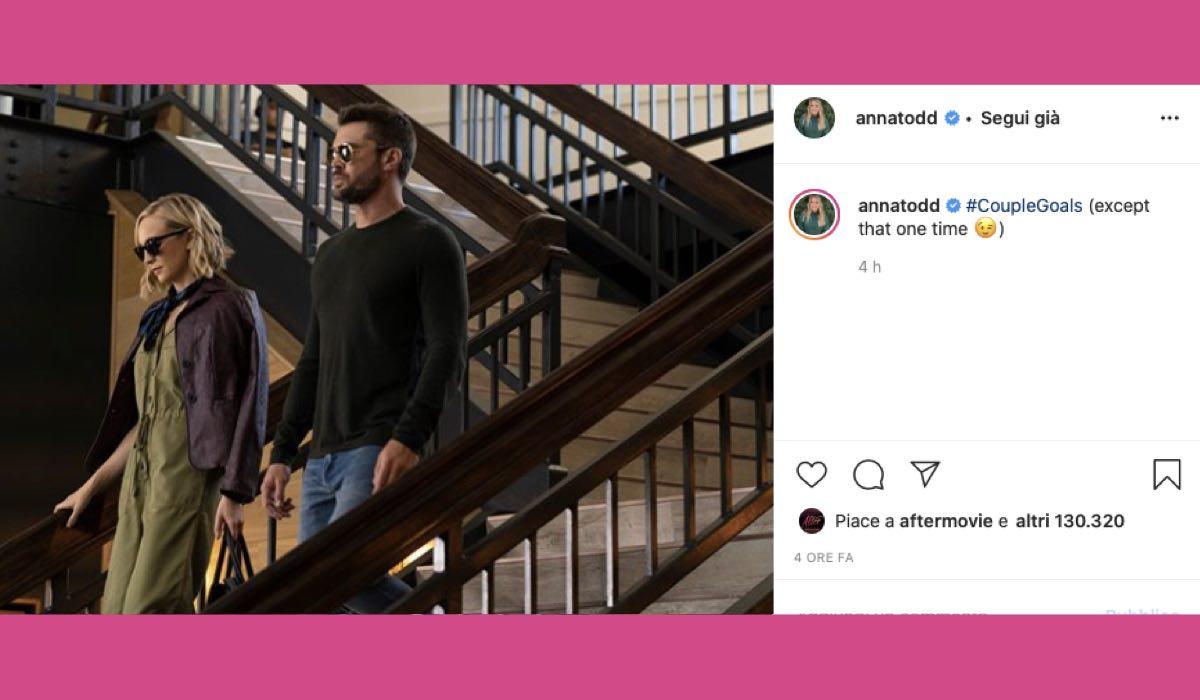 Candice King e Charlie Weber sul set di After 2 credits Instagram via @annatodd