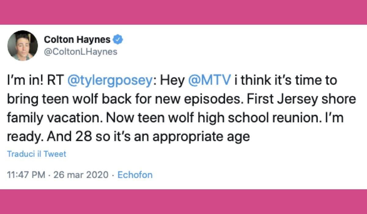 Colton Haynes Tweet Teen Wolf revival credits Twitter @ColtonLHaynes