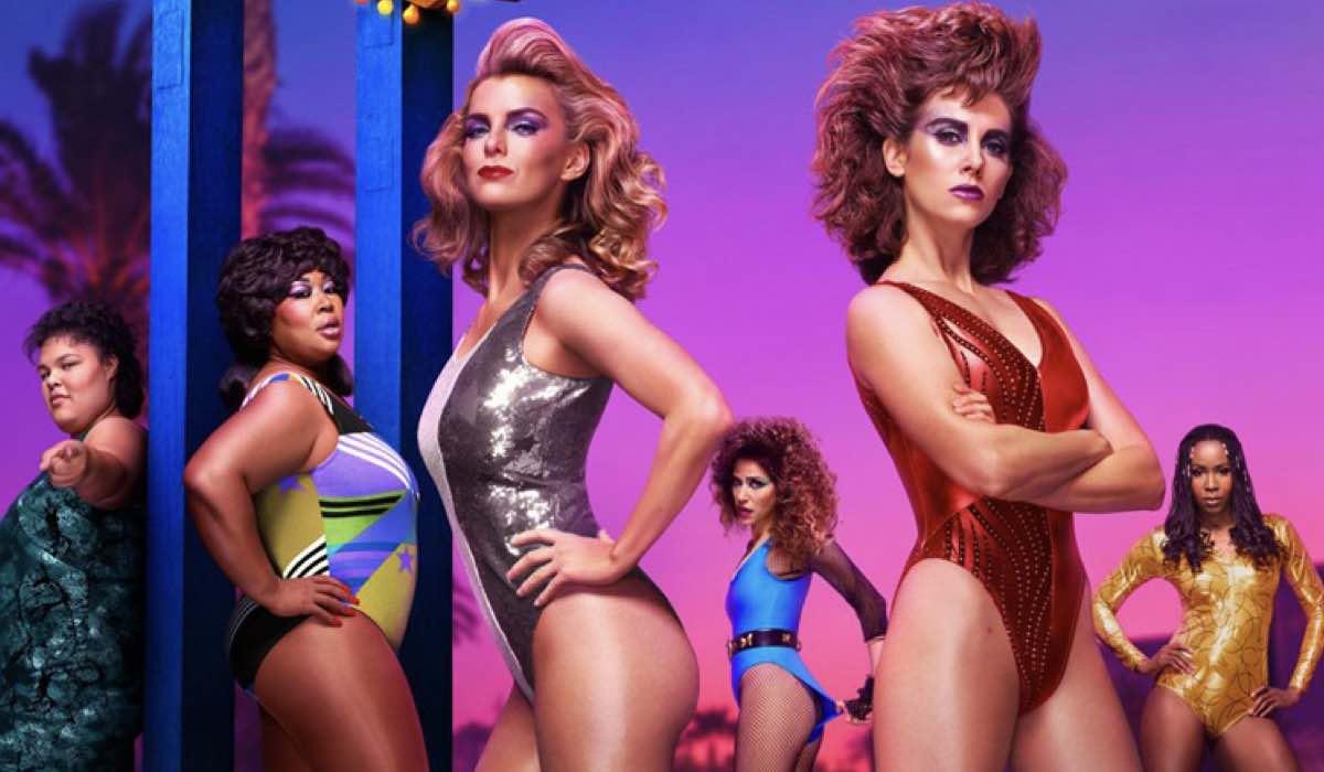 Glow 4 stagione Alison Brie, Betty Gilpin, Britney Young, Jackie Tohn, Kia Stevens e Sydelle Noel sono Ruth, Debbie, Carmen, Melanie, Tammé e Cherry credits Netflix