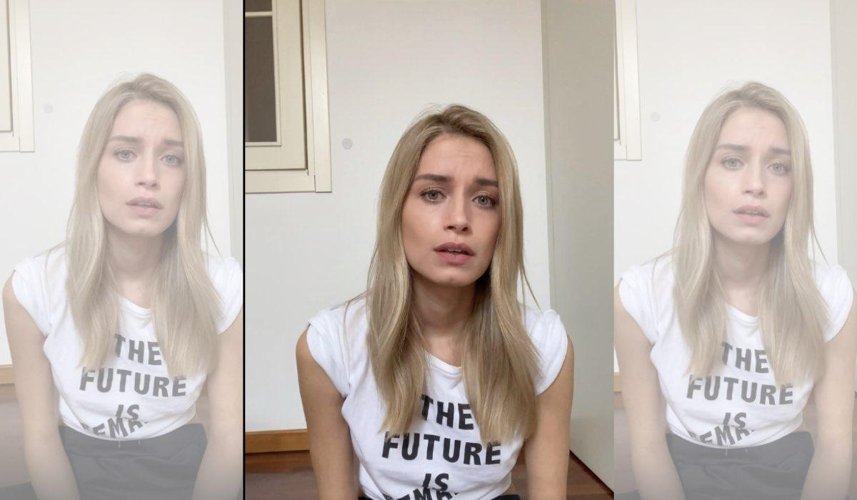 Il Paradiso delle Signore gli attori sui social si esprimono sull'emergenza COVID-19 istantanea schermo del video pubblicato su IGTV il 9 marzo 2020 da Giulia Arena alias Ludovica