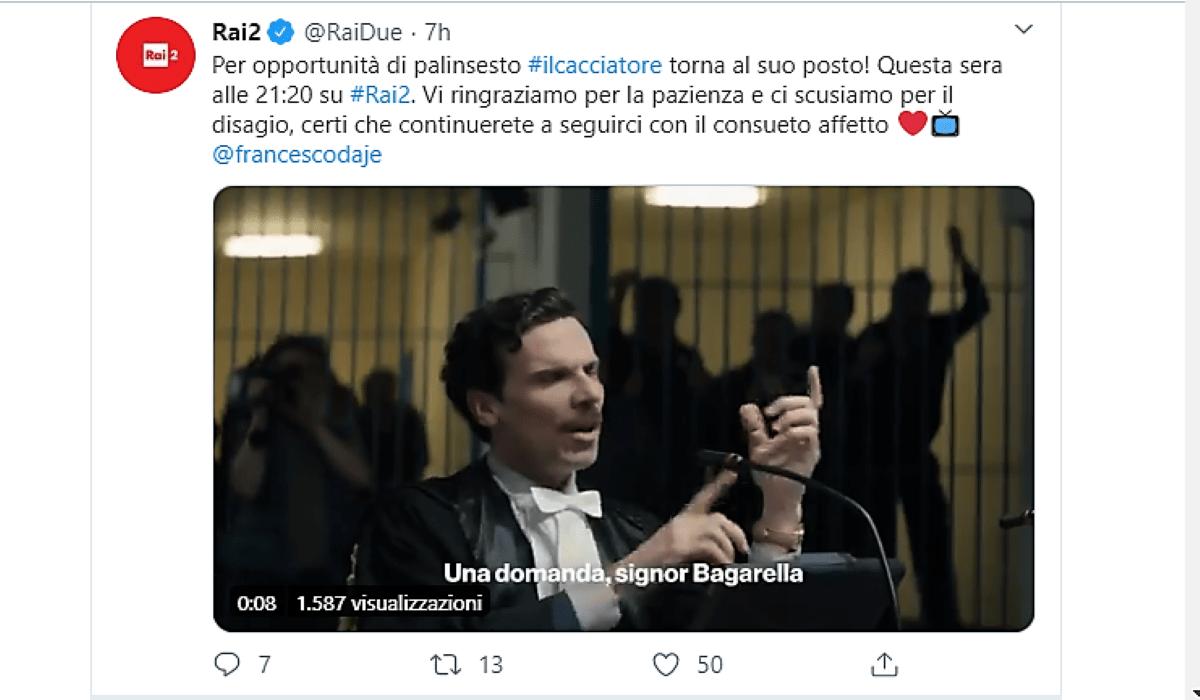 Screenshot di tweet pubblicato sul profilo ufficiale Twitter di Rai 2 del 4 marzo 2020